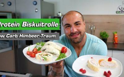 Himbeer Traum Biskuitrolle | Low Carb Eiweiß Dessert