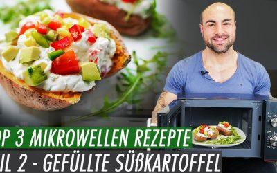 10min Fitness Rezept aus der Mikrowelle – Gefüllte Süßkartoffel mit Gemüse-Quark