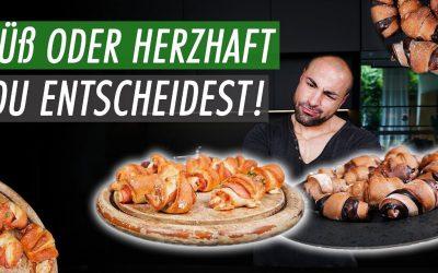 SÜSS HERZHAFT UND KALORIENARM: Schinken-Käse und Nuss Nougat Hörnchen
